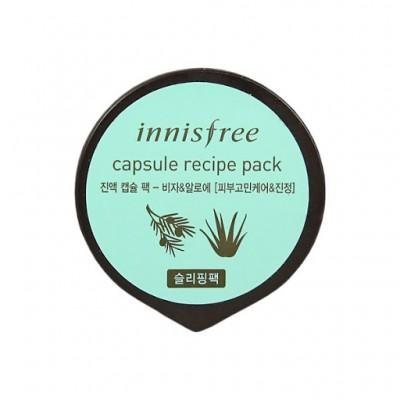 Капсульная ночная противовоспалительная  маска с биджа и соком алоэ Innisfree, 10 мл