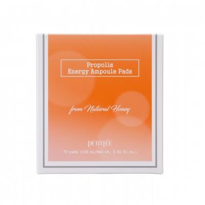 Подушечки косметические, пропитанные тоником PETITFEE Propolis Energy, 160 мл (70 шт)